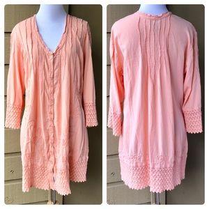 Soft Surroundings Peach Button Down Tunic Size M